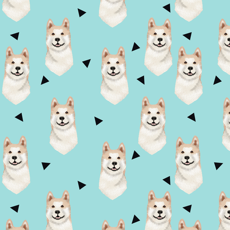 akita geometric fabric dogs and triangles design - blue tint fabric by petfriendly on Spoonflower - custom fabric