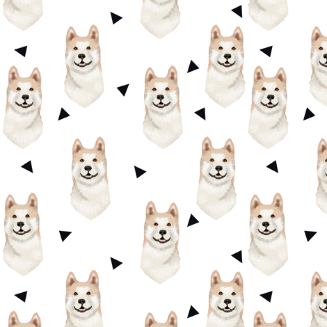 akita geometric fabric dogs and triangles design  - white fabric by petfriendly on Spoonflower - custom fabric