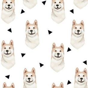 akita geometric fabric dogs and triangles design  - white