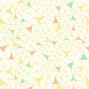 Geodesic Web with Yellow, Coral and Pink Confetti Triangles