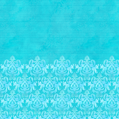 Aqua Stripes w/Damask Trim