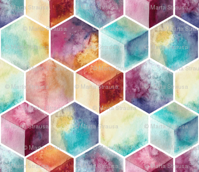 watercolor hexagons