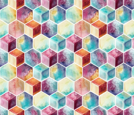watercolor hexagons fabric by marta_strausa on Spoonflower - custom fabric
