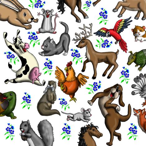 Fun_Animals_white fabric by deva_kolb on Spoonflower - custom fabric