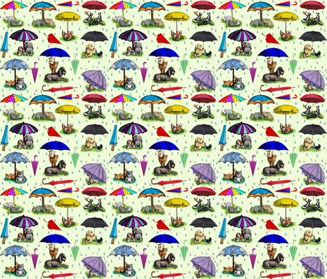 Umbellas_green fabric by deva_kolb on Spoonflower - custom fabric