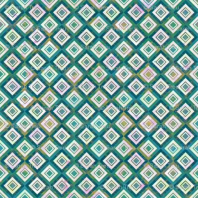 Mosaic Diamonds Ceramic Blue