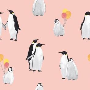 Penguin family pink