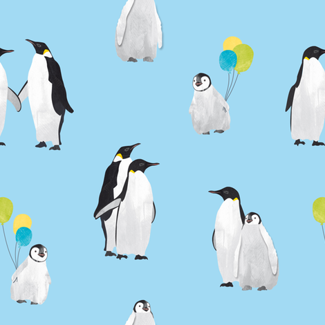 Penguin family on blue fabric by revista on Spoonflower - custom fabric