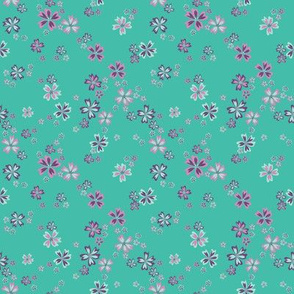 Classic in aqua greens floral with butterflies