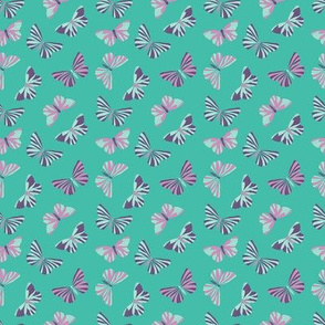 Classic in aqua green floral with butterflies