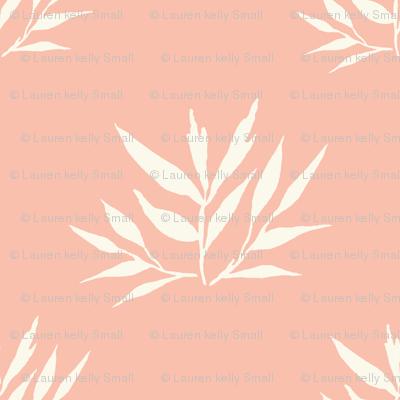 Botanical Leafy Bamboo, Peach & Cream