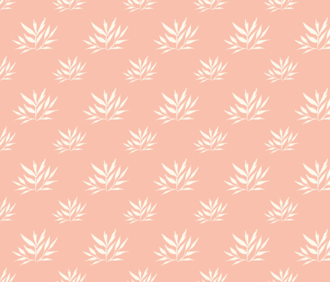 Botanical Leafy Bamboo, Peach & Cream fabric by thistleandfox on Spoonflower - custom fabric