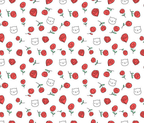 cats and roses fabric by kostolom3000 on Spoonflower - custom fabric