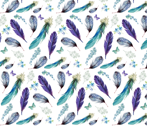"8"" LILAC MERMAID / FEATHERS & FLORALS fabric by shopcabin on Spoonflower - custom fabric"