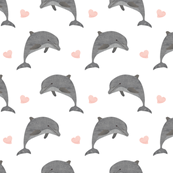 Jumping dolphins with pink hearts