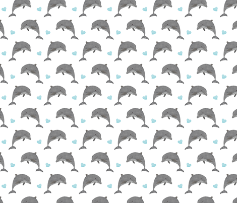Jumping dolphins with blue hearts fabric by revista on Spoonflower - custom fabric