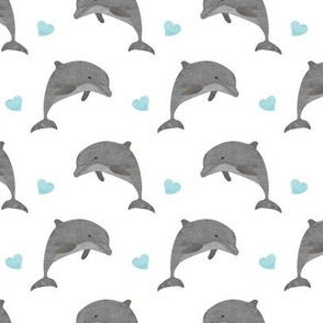 Jumping dolphins with blue hearts