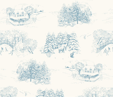 Winter Toile Blue fabric by bear_bell on Spoonflower - custom fabric