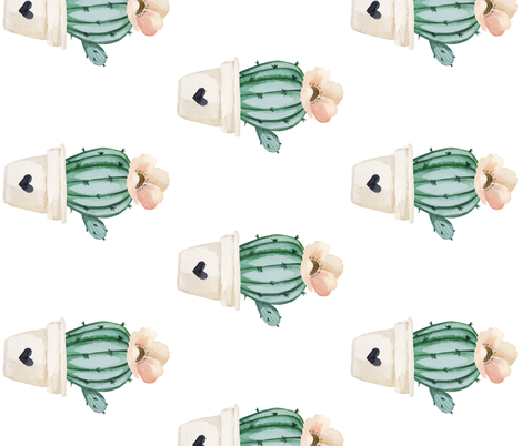 """7"""" Brand New Day Cactus / White / 90 degrees fabric by shopcabin on Spoonflower - custom fabric"""