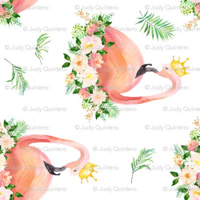 "8"" Floral Flamingo / Free Falling / 90 degrees"