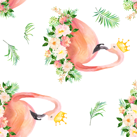"""8"""" Floral Flamingo / Free Falling / 90 degrees fabric by shopcabin on Spoonflower - custom fabric"""