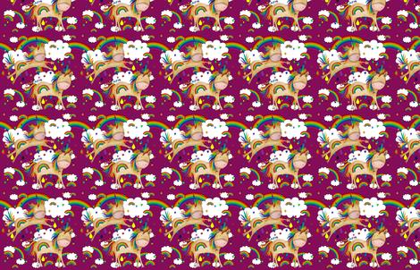 rainbow_outlines_purple_unicorns fabric by rainingrainbows on Spoonflower - custom fabric