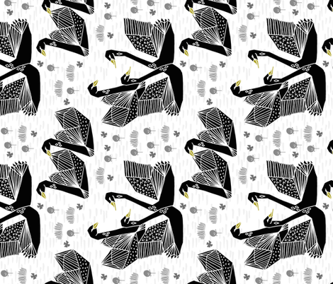 swan fabric // swans origami swan fabric black and white swans fabric by andrea_lauren on Spoonflower - custom fabric