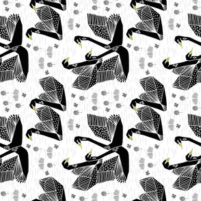 swan fabric // swans origami swan fabric black and white swans