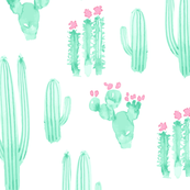 Cactus Watercolor || Pink Green Succulent Southwest Saguaro_Miss Chiff Designs
