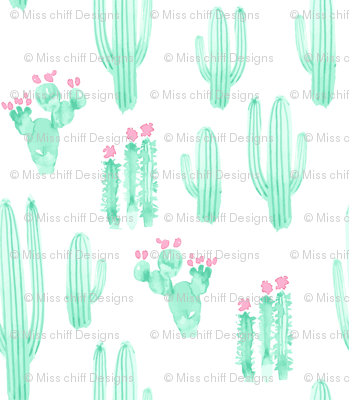 Large Scale Cactus Watercolor || Pink Mint Jade Green White Succulent Southwest Saguaro_Miss Chiff Designs