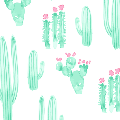 Large Scale Cactus Watercolor || Pink Mint Jade Green White Succulent Southwest Saguaro_Miss Chiff Designs fabric by misschiffdesigns on Spoonflower - custom fabric