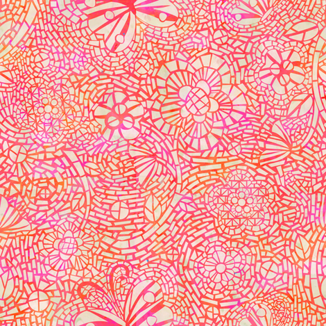 Mosaic Ceramic Pink fabric by sarah_treu on Spoonflower - custom fabric