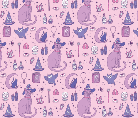 Mystical Cats in Pink fabric by pinkowlet on Spoonflower - custom fabric