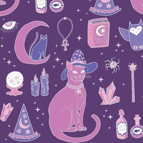 Mystical Cats in Purple