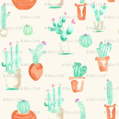 Watercolor Southwest Cactus Succulent || Cream Beige  Terra Cotta Green_Miss Chiff Designs