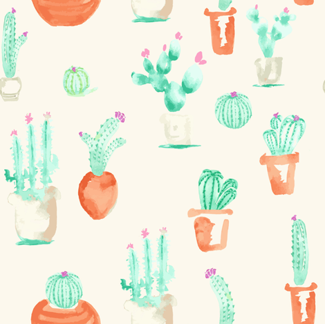 Watercolor Southwest Cactus Succulent || Cream Beige  Terra Cotta Green_Miss Chiff Designs fabric by misschiffdesigns on Spoonflower - custom fabric
