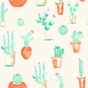 Watercolor Southwest Cactus Succulent || Cream Beige  Terra Cotta Green_Miss Chiff Designs