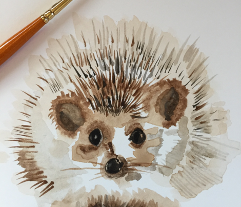 Hedgehog Watercolor Large || Succulent Cactus Harry Forest Animal Mint Green Tan Taupe_Miss Chiff Designs