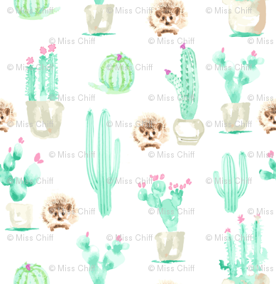 8x8 Hedgehog Watercolor || Succulent Cactus Harry Forest Animal Mint Green Tan Taupe_Miss Chiff Designs