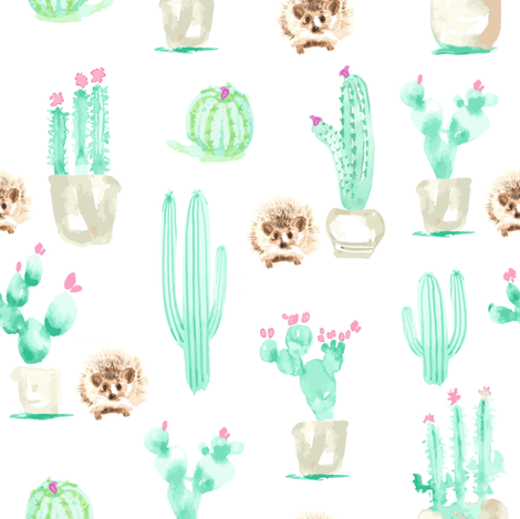 8x8 Hedgehog Watercolor || Succulent Cactus Harry Forest Animal Mint Green Tan Taupe_Miss Chiff Designs fabric by misschiffdesigns on Spoonflower - custom fabric