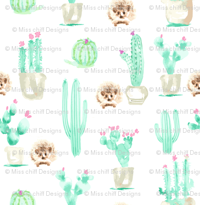 13 x13 Hedgehog Watercolor Cactus Harry  Large mint green pink brown _Miss Chiff Designs