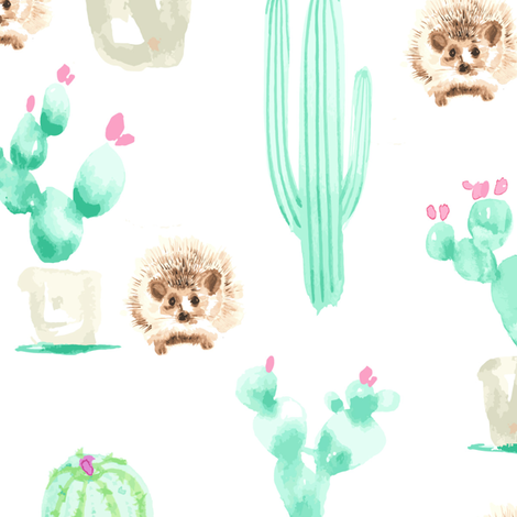 13 x13 Hedgehog Watercolor Cactus Harry  Large mint green pink brown _Miss Chiff Designs fabric by misschiffdesigns on Spoonflower - custom fabric