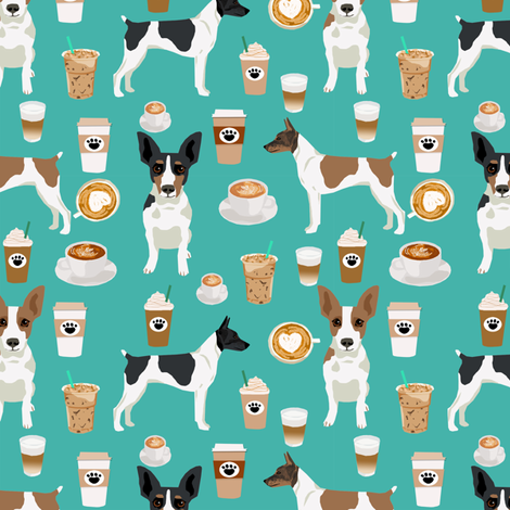 Rat Terrier dog fabric coffee pattern 1 fabric by petfriendly on Spoonflower - custom fabric