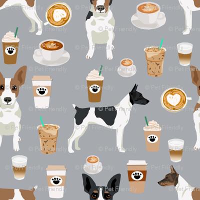 Rat Terrier dog fabric coffee pattern 2