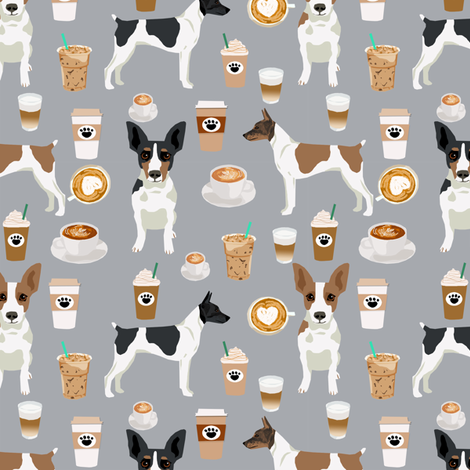 Rat Terrier dog fabric coffee pattern 2 fabric by petfriendly on Spoonflower - custom fabric