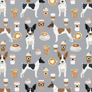 Rat Terrier dog fabric coffee pattern 2