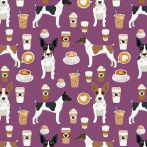 Rat Terrier dog fabric coffee pattern 3