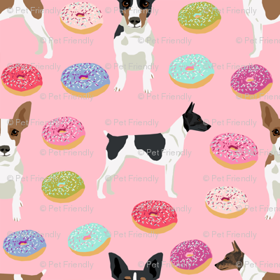 Rat Terrier dog fabric donuts pattern 2