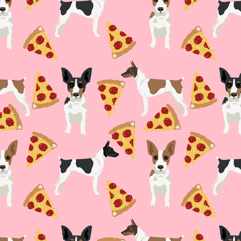 Rat Terrier dog fabric pizza pattern pink fabric by petfriendly on Spoonflower - custom fabric
