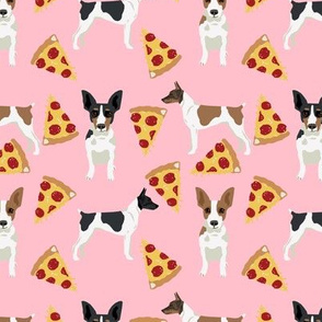 Rat Terrier dog fabric pizza pattern pink